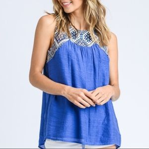 Tops - NWT NEW Flirty Embroidered Collar Lace up backTop